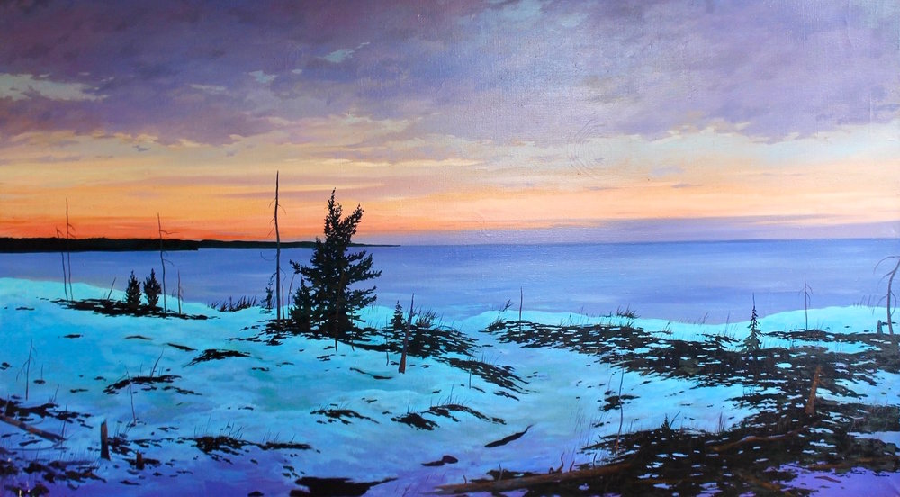 "Michael Scott, ""Sunrise Over Lake Michigan"", Oil on canvas, 33""x60"""