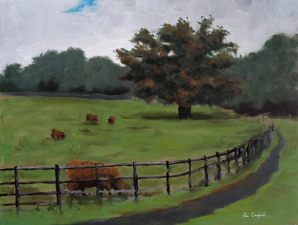 "Lee Craigmile, ""Field with Highland Cows"", 12x16 in, Oil on panel"