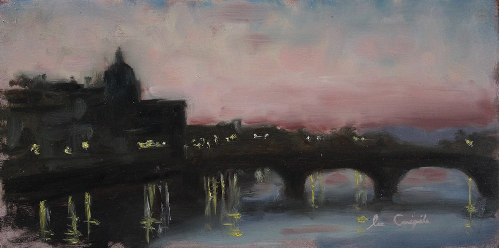 """Sunset Over Ponte alla Carraia, Florence"", 6x12 in, Oil on panel - SOLD"