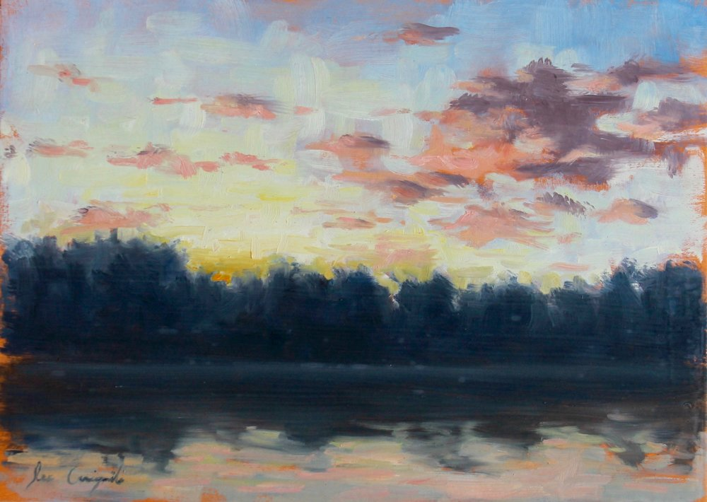 """Lake Keowee Sunrise No. 1"", 10x14 in, Oil on panel"