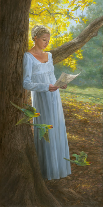 """Lucy Audubon: A Letter From John"", 30x15 in, oil on canvas"