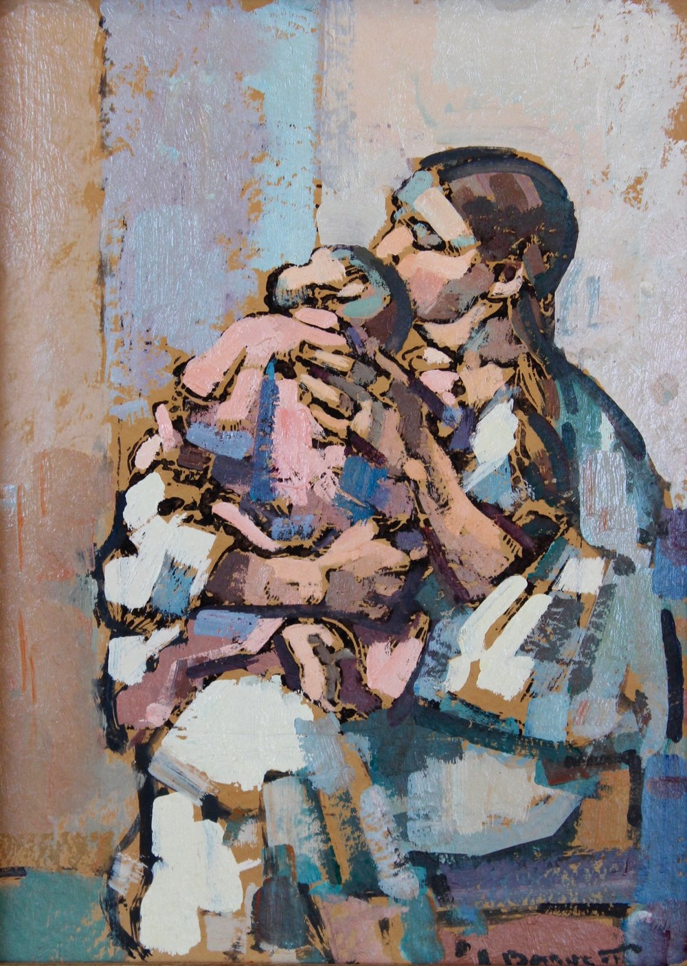 """Mother and Child"", 12 x 9 in, Oil on canvas."