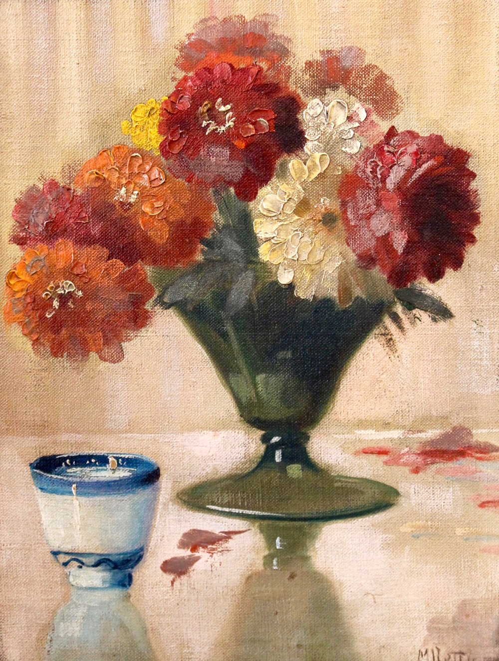 "Martin Rettig  (1869 - 1956), ""Bouquet and Teacup"", 13 x 10 in, Oil on canvas."