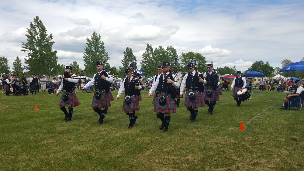 Marching off the field at the Kingston Scottish Festival