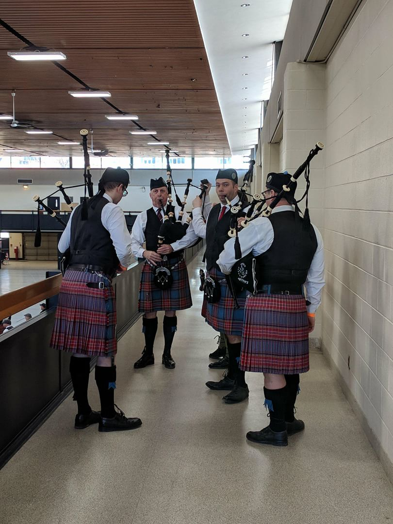 Conor, Rob, Kris and Jeff warming up for the Quartets at the Toronto Indoors