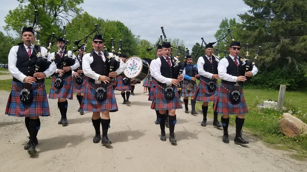 Marching to the field at the Kingston Scottish Festival, 2018