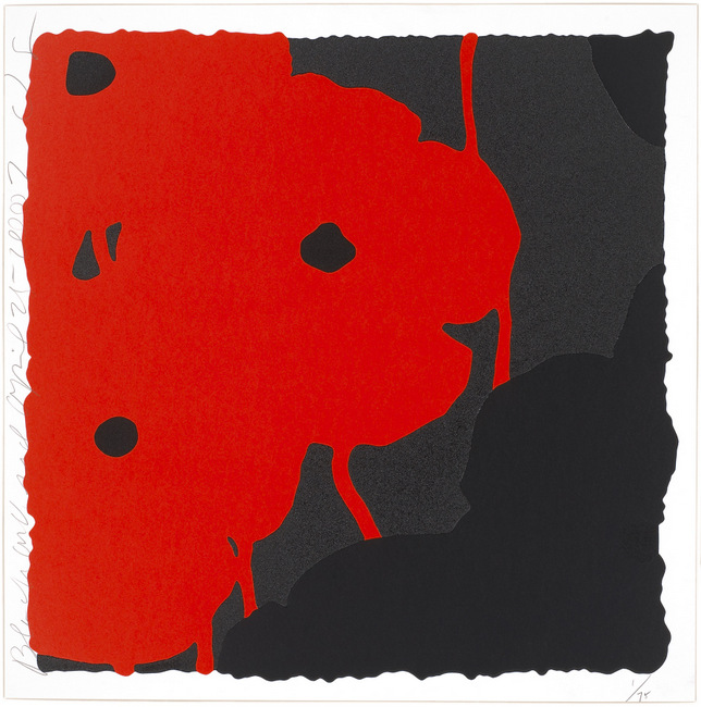 Donald Sultan ,  Black and Red, April 25, 2007 , 2007, Silkscreen inks and flocking, 24 x 24 inches, Ed. of 75
