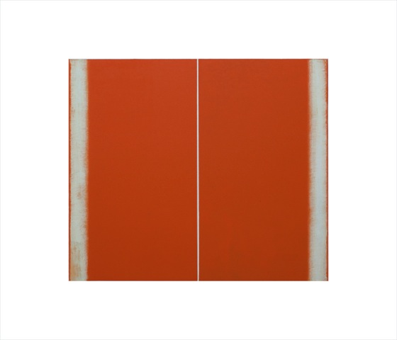 Betty Merken,  Structure Orange,  2015, Oil monotype, 14 x 16 inches