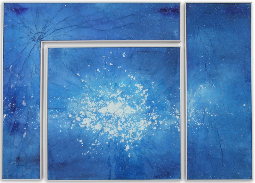 Blue Kapnos L II, 2015 , reverse painted glass, 40 x 56 inches, triptych, SOLD.