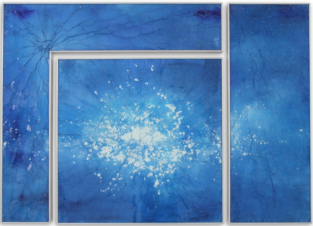 Blue Kapnos L II, 2015 , reverse painted glass, 40 x 56 inches, triptych