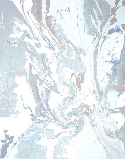 Leah Durner,  whitesilverbluebeige pour , 2011, poured enamel on canvas, 60 x 48 inches
