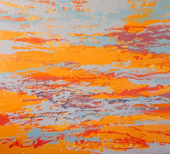 Leah Durner,  orangegreybluered pour , 2015, poured enamel on canvas, 60 x 66 inches