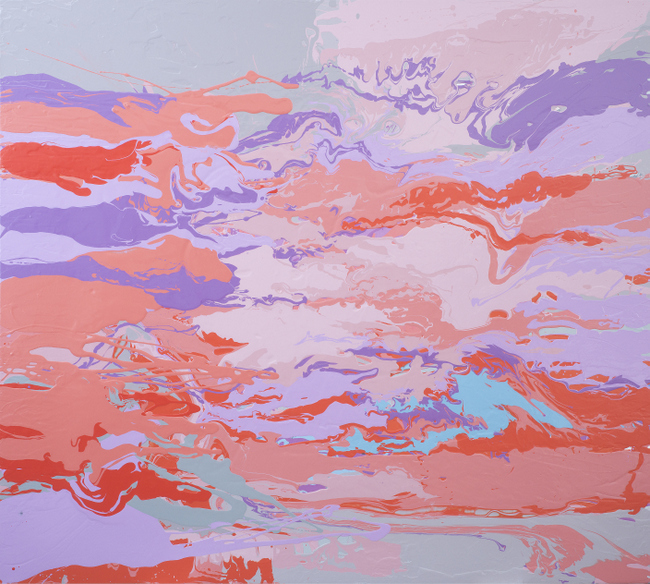 Leah Durner,  darkpinkvioletbeigegrey pour , 2015, poured enamel on canvas, 60 x 66 inches