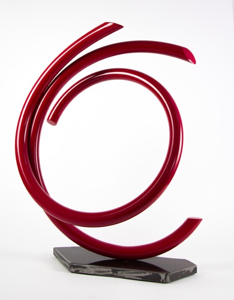 "John Clement,  Carnation , 2016, 1.25"" steel pipe, steel plate, Ferrari paint"