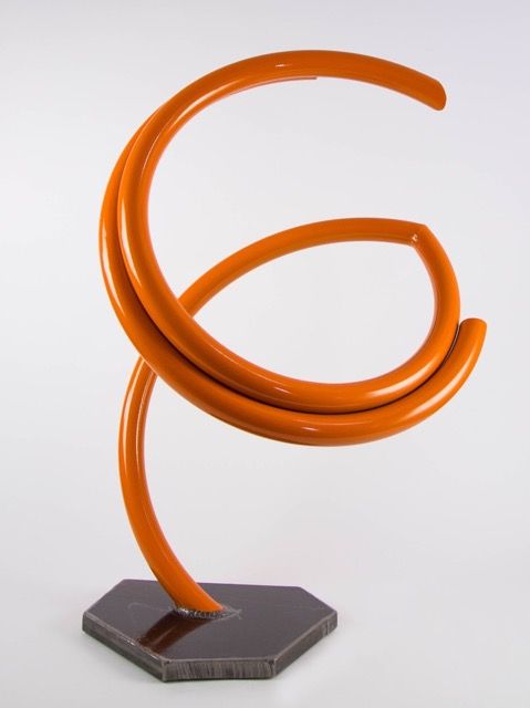 "John Clement,  Lotus , 2016, 1.25"" steel pipe, steel plate, Ferrari paint, 35 x 24 x 12 inches"