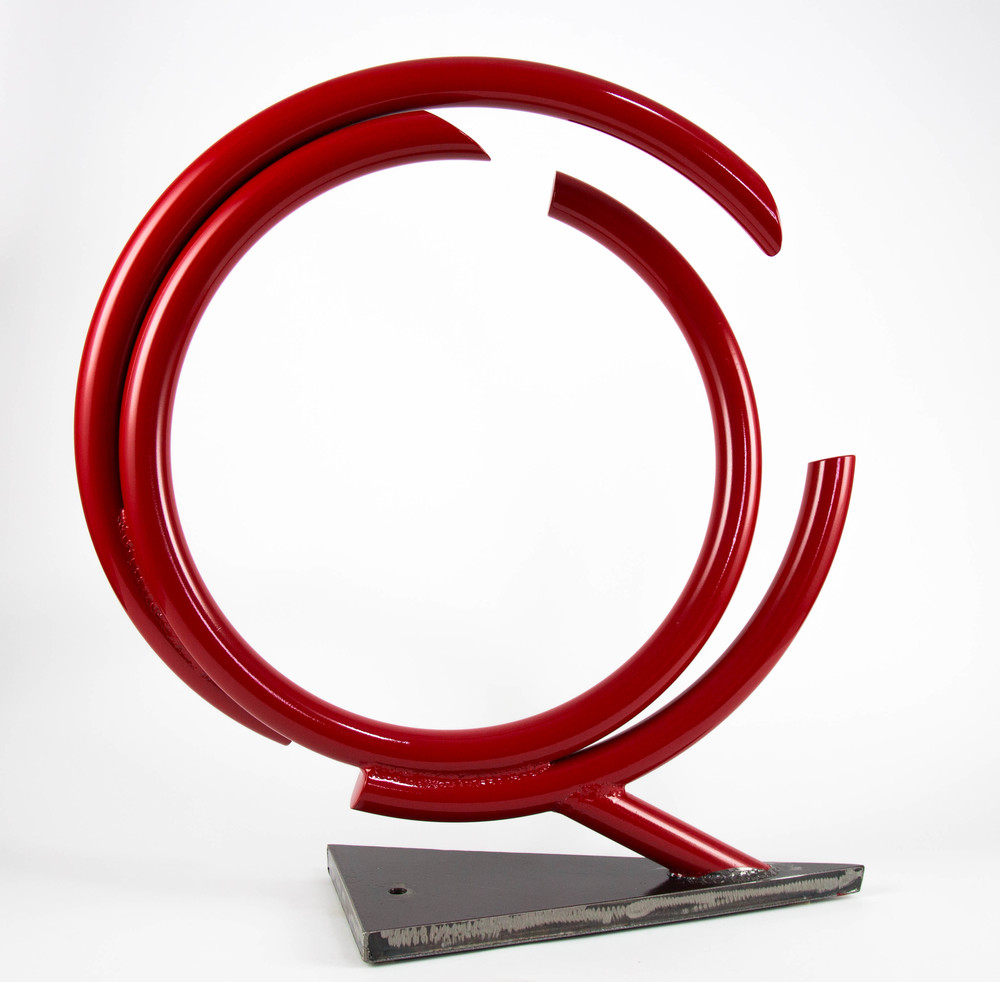 "John Clement , Indy,  2016, 1.25"" steel pipe, plate, Ferrari paint, 28 x 27 x 8 inches"