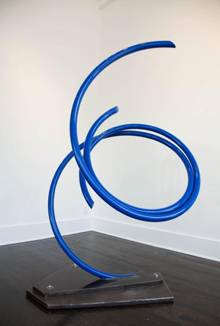 "John Clement,  Pluto,  2016, 2"" steel pipe, steel plate, Ferrari paint, 64.5 x 44 x 34 inches"