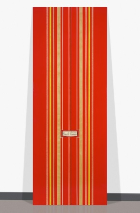 Peter Dayton , Barnett Newman #4 (New Generation),  Oil, acrylic and paper decal on birch panel, 84 x 32 inches