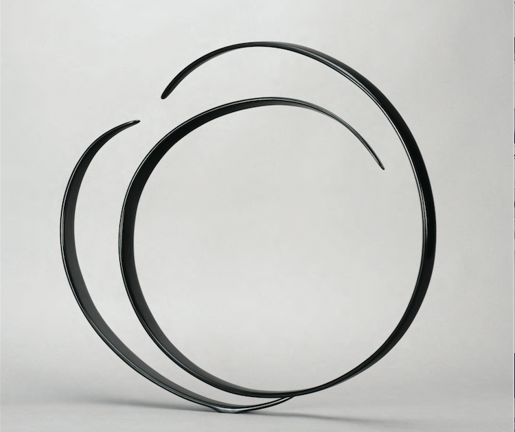 Will Clift,  Enclosing Forms Following,  2013, hardwood, carbon fiber, black pigment, 26 x 29 x 6 inches