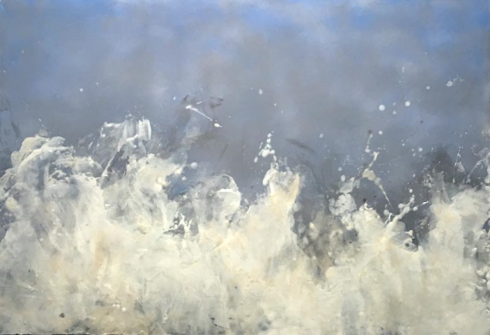 Betsy Eby, Song of the Sea, 2015, Encaustic on panel on canvas, 40 x 58 inches