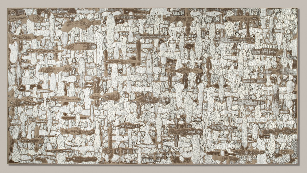 Martin Kline,Plus Minus (II), 2015, Encaustic on linen, 64 x 118 x 2 1/2 inches