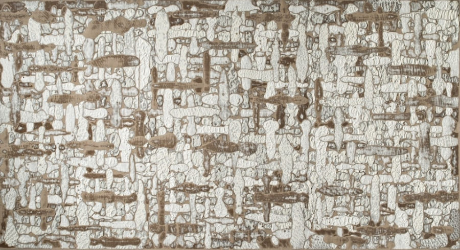 Plus Minus II , 2015, Encaustic on linen, 64 x 118 x 2 1/2 inches