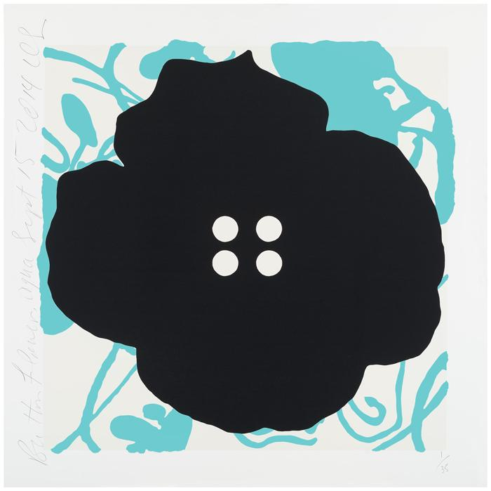 Donald Sultan,   Button Flowers Aqua, Sept 15, 2014 , 2014, Color silkscreen with enamel inks and flocking on 2-ply museum board, 30 x 30 inches