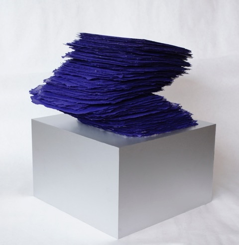 "Betty Merken, Slab Series, Ultramarine. # 09-16-03, 2016,  365 Units on an anodized aluminum base (each unit ""slab"" hand deckled, hand inked, and hand printed on Rives BFK paper),  19 x 14 x 14 inches (total)"