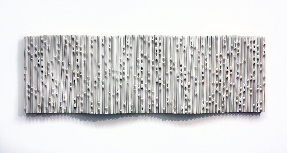 Jessica Drenk,  Wave 8,  2017, PVC pipe on aspen wood frame, 23 x 72 inches