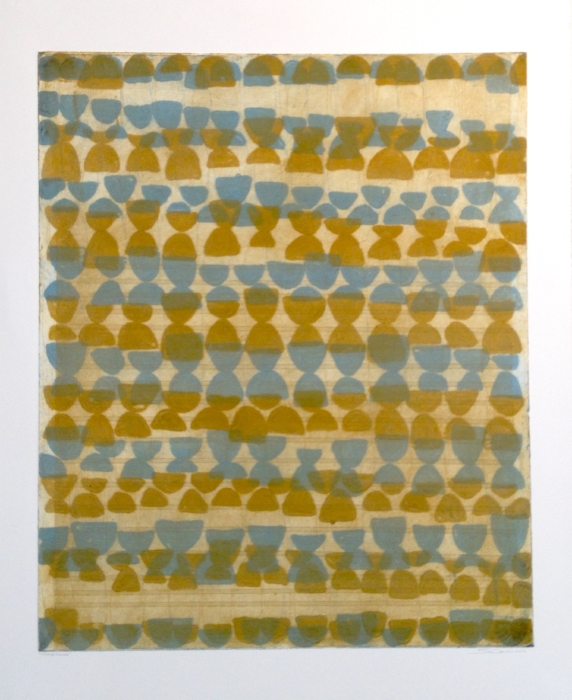 Sarah Amos,  Cloud Filling,  2012, collagraph, 39 x 32 1/4 inches