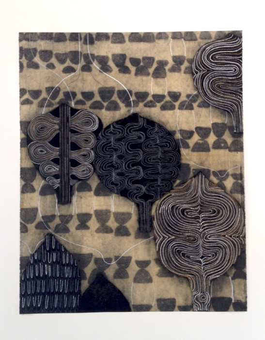Sarah Amos,  Silk and Purls , 2012, collagraph, 38 x 30 1/2 inches