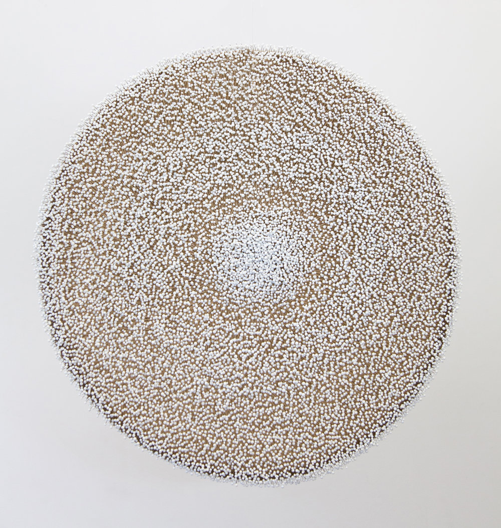 Elements of Ambivalence (White),  2017, Glass pins on waxed linen, 22 inches diameter