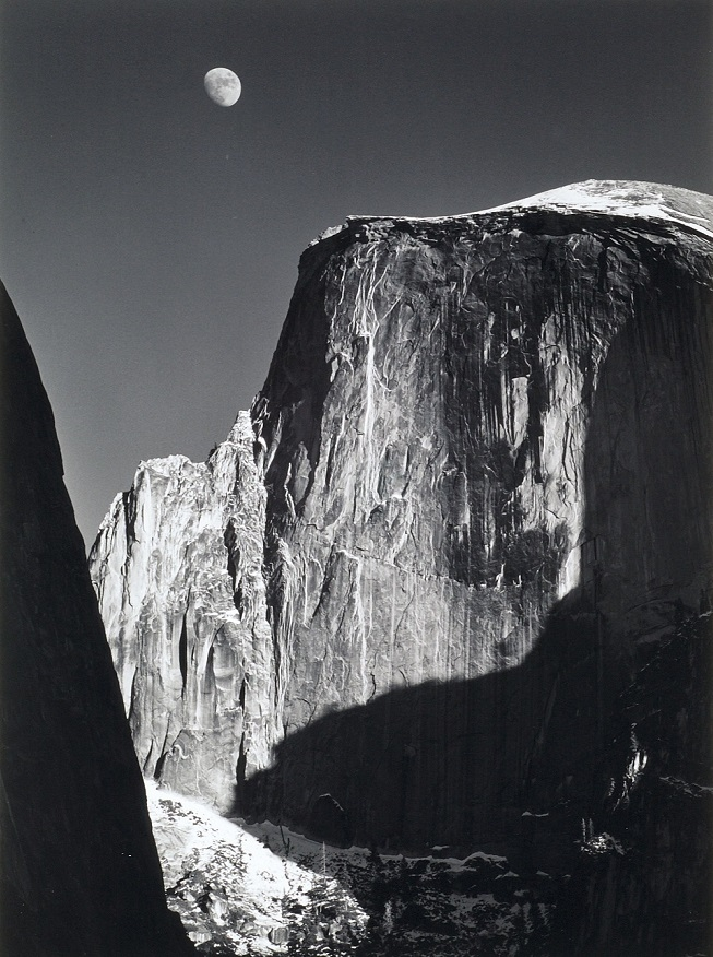 Moon and Half Dome, 1960, printed ca. 1973-77, gelatin silver print, 20 x 16 inches