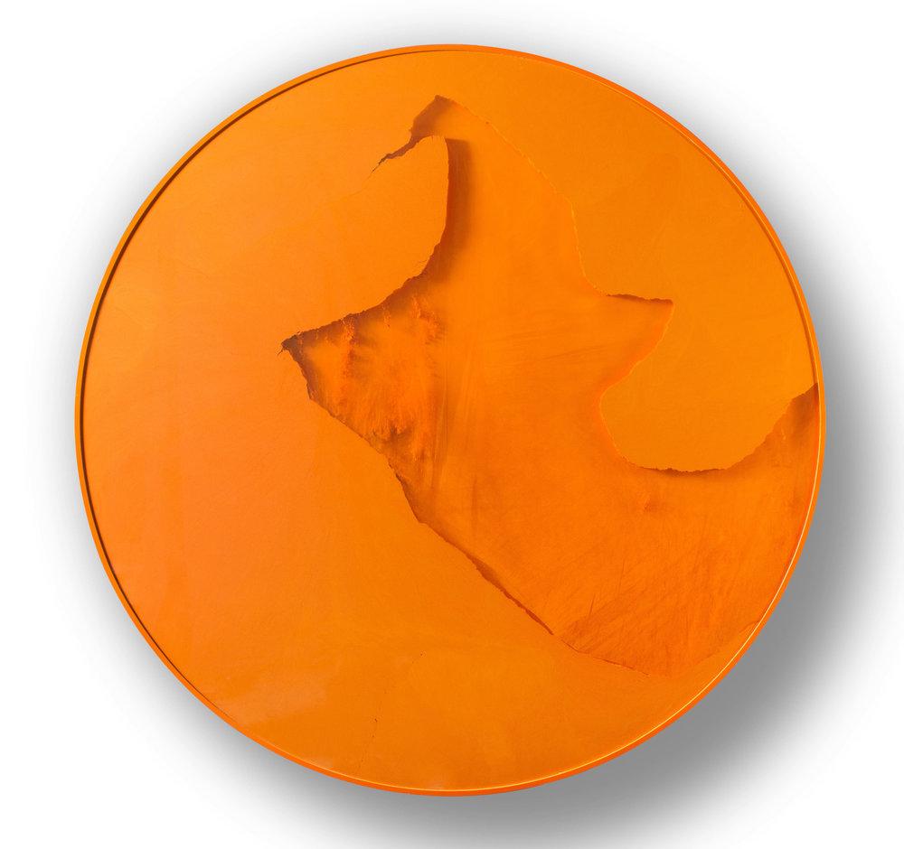 Manuel Merida,  Cercle Orange, 2014,Painted wood, glass, powder pigment, motor, 47 1/4 inches diameter