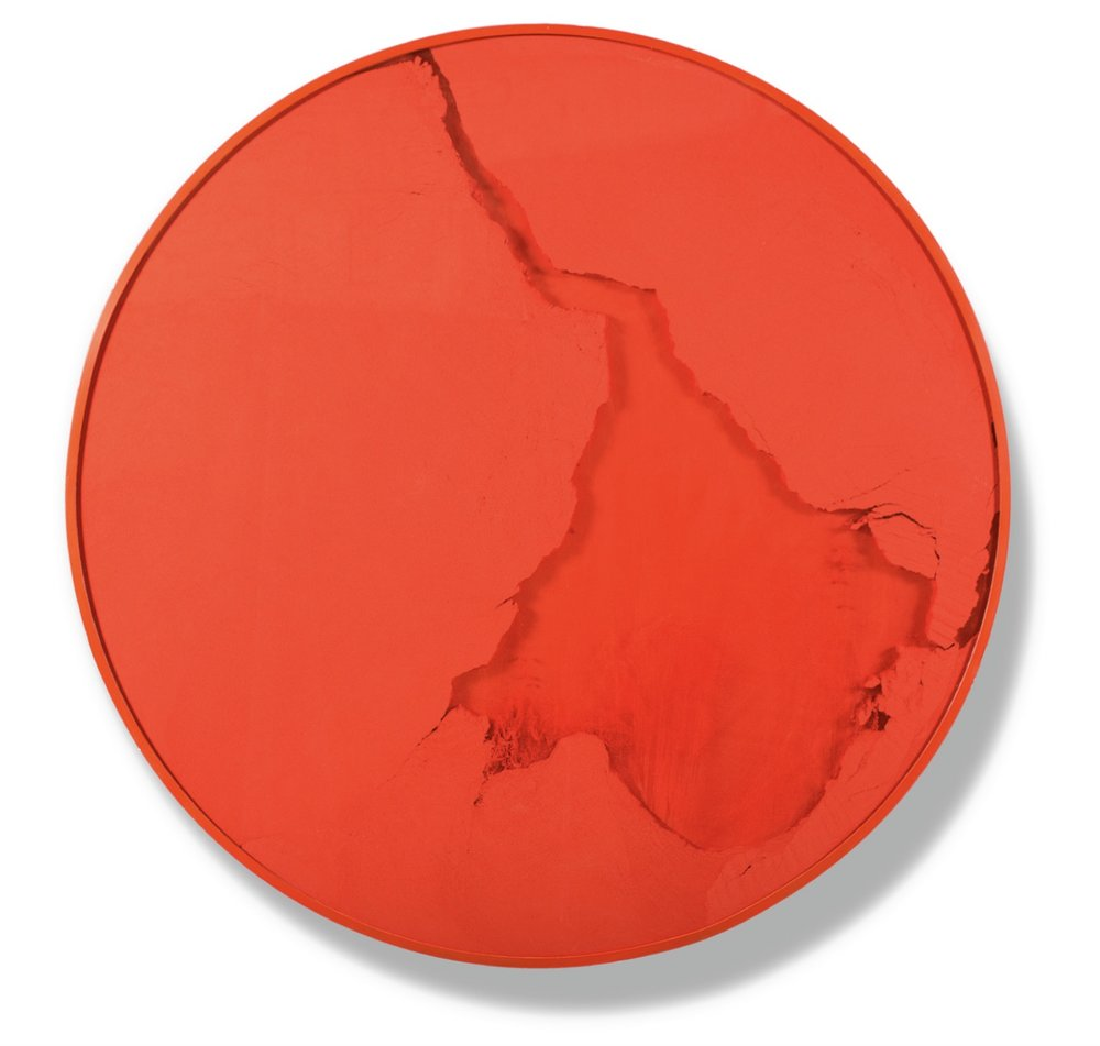 Manuel Mérida,  Cercle Rouge Vermillion , 2015, Painted wood, glass, powder pigment, 60 inches in diameter