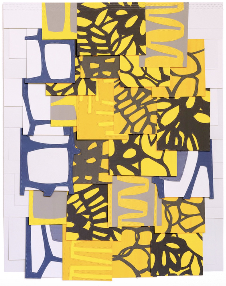 Untitled, 2017, Gouache collage on sewn paper, 28 x 22 inches