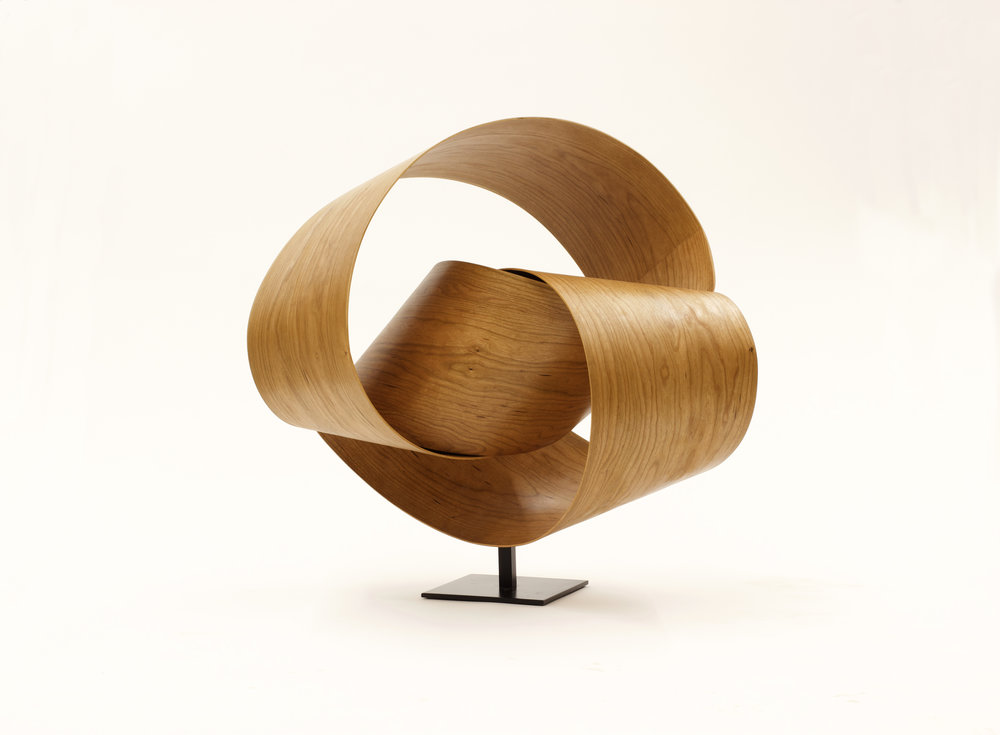 Sinuous 14 , 2018,Black cherry wood, 25 x 27 x 17 inches