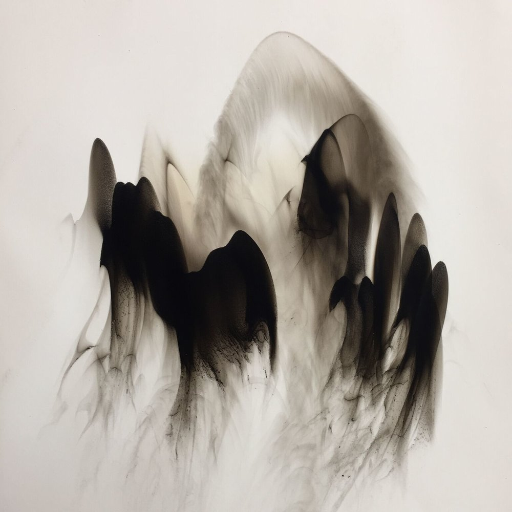 Dennis Lee Mitchell  , Landscape #9 , Smoke on paper, 25 1/4 x 25 1/4 inches