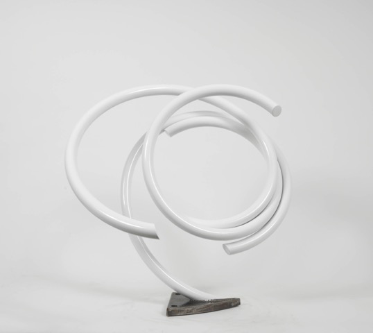 John Clement,   Chicory , 2017, 1 1/4 inch steel piepe, 1 inch steel plate, High performance car paint, on white marble base, 32 x 36 x 30 inches