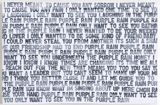 Matthew Heller,   Homage to Music: Purple Rain , 2018, Acrylic on canvas, 40 x 60 inches