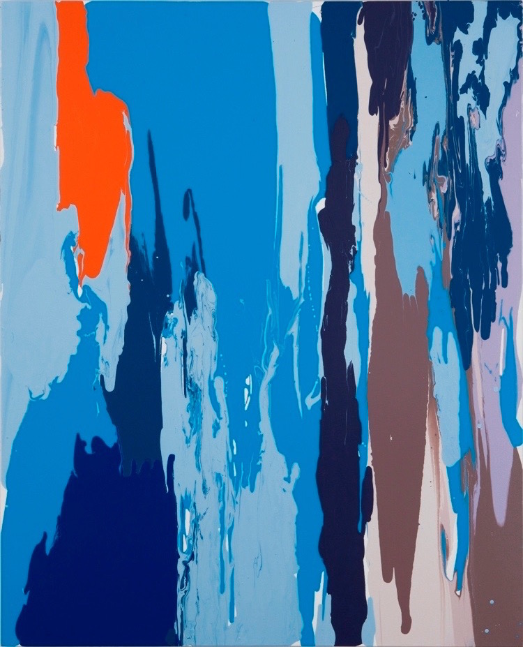 Leah Durner , darkbluelightluebrownbeigeorange pour , 2011, poured enamel on canvas, 60 x 48 inches