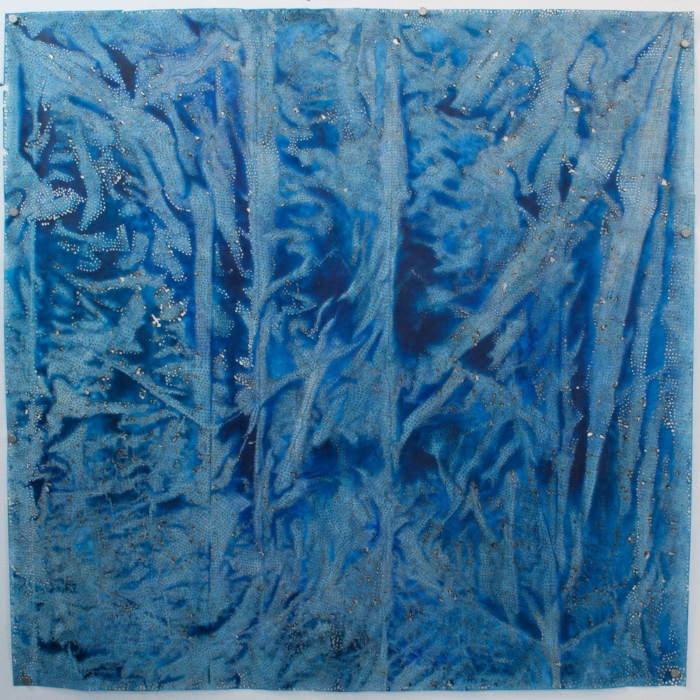 Jay McCafferty,  Blue 60,  solar burns and acrylic on paper, 60 x 60 inches