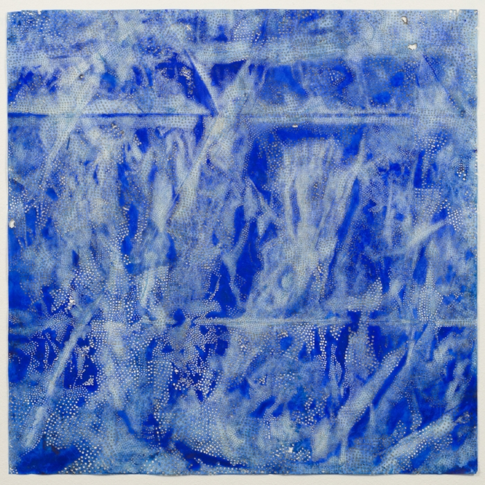Jay McCafferty,  Blue 20,  2015, solar burns and acrylic on paper, 41 1/2 x 41 1/2 inches frame