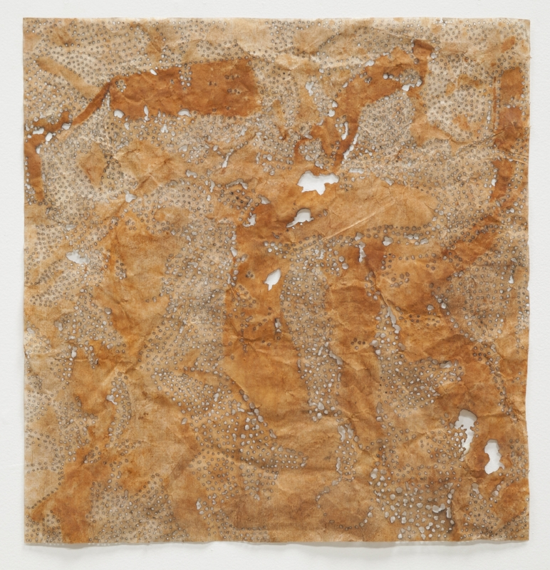 Rust 6,  solar burns and rust on paper, 22 x 22 inches