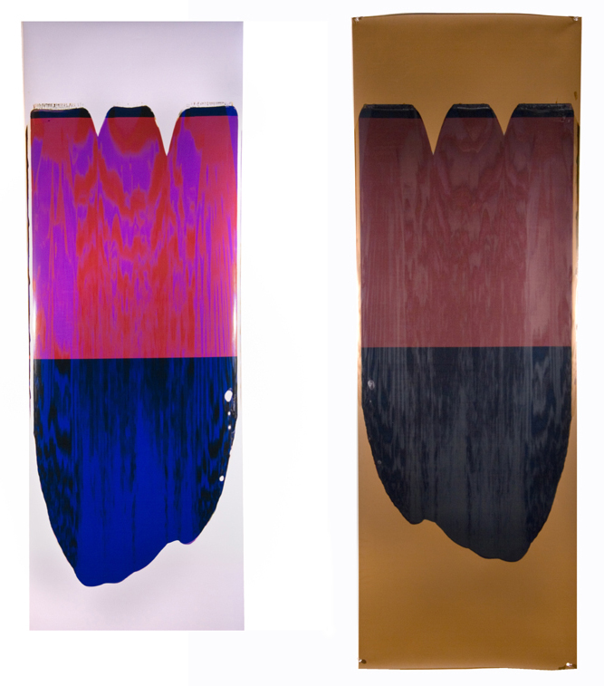 Ellen Carey,    Moiré Pull (Magenta Blue),  2005, Polaroid 20 x 24 color positive/color negative print, 68 1/2 x 22 inches each irregular edge