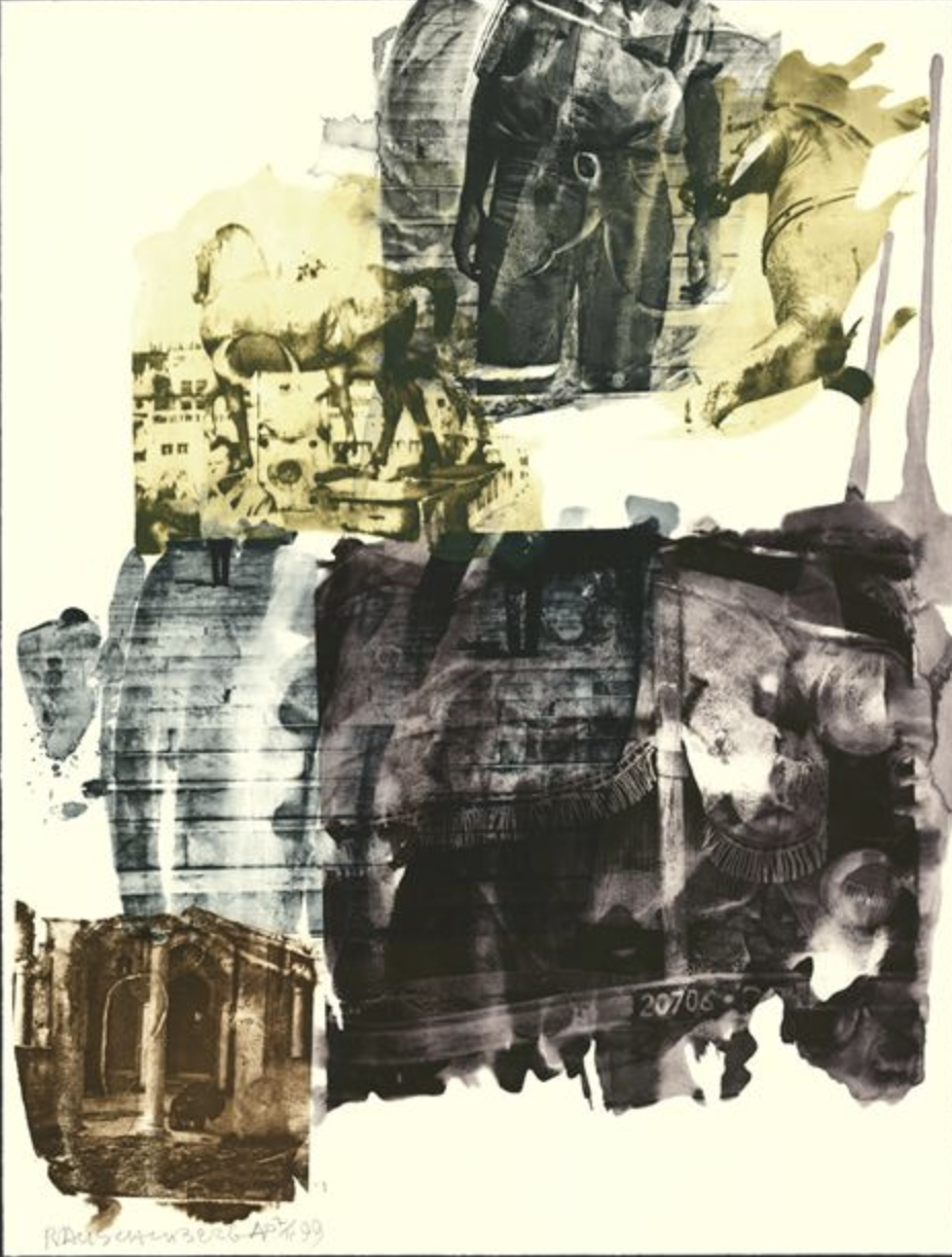 Robert Rauschenberg,  Eagle Eye (Ruminations) , 1999, Intaglio in 5 colors with etching on Arches en Tout Cas paper, 49 3/4 x  38 inches
