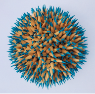 Andres Schiavo  , Ovalos,  colored pencils, wood, set of 10. 8 or 5 inches each; install dimensions variable. Detail of single element.