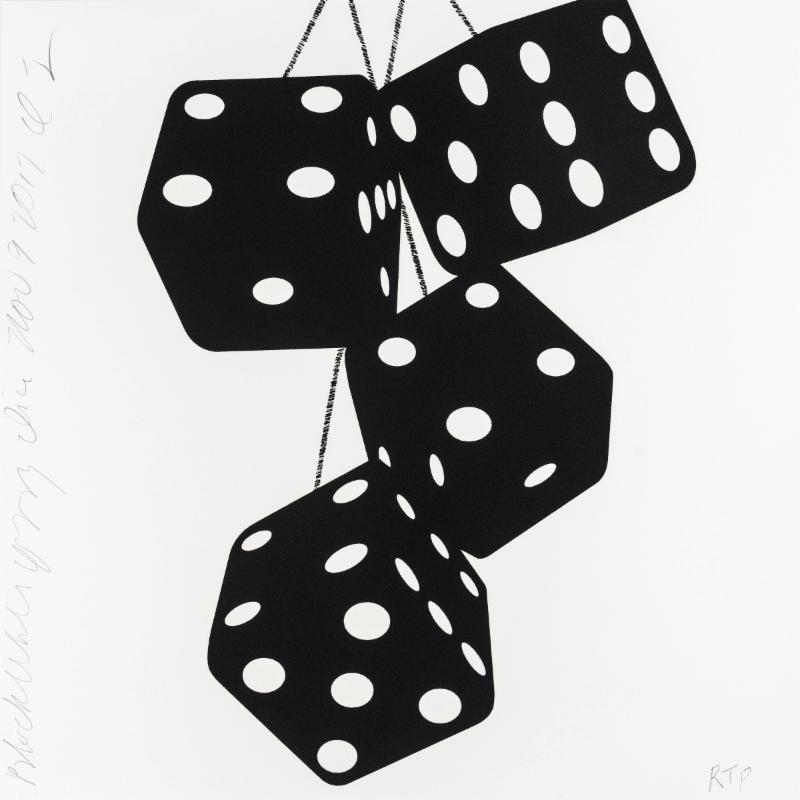 Donald Sultan,   Black White Fuzzy Dice Nov 9 2017 , 2017, silkscreen with enamel inks and flocking on 2-ply museum boards; suite of 4 (can be separated), 24 x 24 inches each, ed. of 30