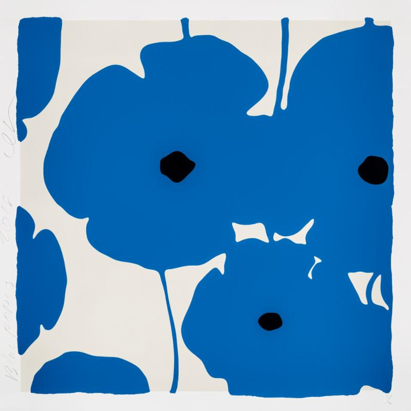 Donald Sultan,   Four Poppies, Blue , 2018, silkscreen in colors with enamel inks, flocking, and tar-like texture on 2-ply museum boards; suite of 4 (can be separated), 39 x 39 inches each, ed. of 40