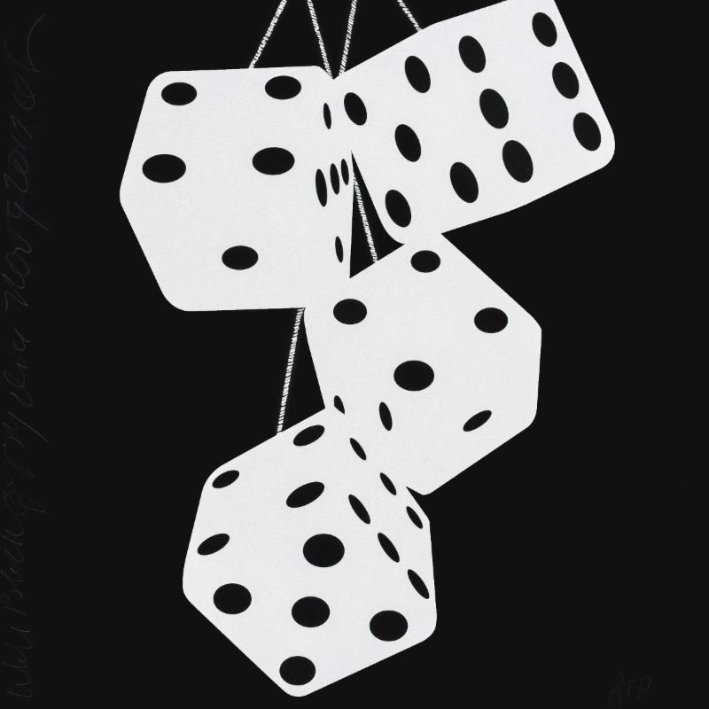 Donald Sultan,   White Black Fuzzy Dice Nov 9 2017 , 2017, silkscreen with enamel inks and flocking on 2-ply museum boards; suite of 4 (can be separated), 24 x 24 inches each, ed. of 30